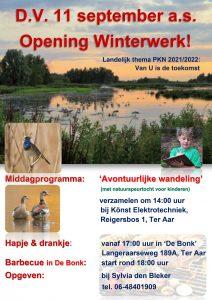 OPENING WINTERWERK 11 -en 12 september 2021.